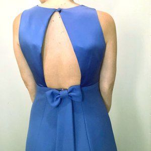 Vintage Periwinkle Bow Back Evening Gown